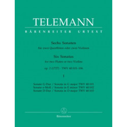 Six Sonatas for two Flutes or two Violins. Telemann